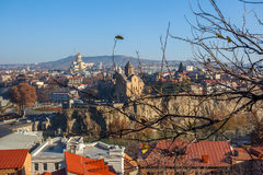 The Panoramic View Of Tbilisi from Narikala castle, Sameba, Mete Royalty Free Stock Images