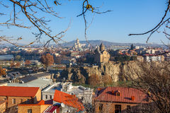 The Panoramic View Of Tbilisi from Narikala castle, Sameba, Mete Stock Photography