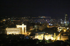 Panoramic view of Tbilisi at night Royalty Free Stock Images