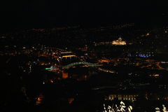 Panoramic view of Tbilisi at night Stock Photography