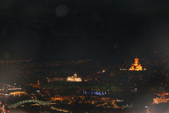 Panoramic view of Tbilisi at night Stock Image