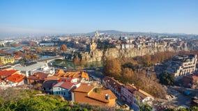 The Panoramic View Of Tbilisi, Sameba, Metekhi,  autumn, Georgia Royalty Free Stock Photography