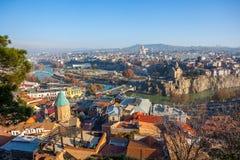 The Panoramic View Of Tbilisi, Sameba, Metekhi,  autumn, Georgia Stock Images
