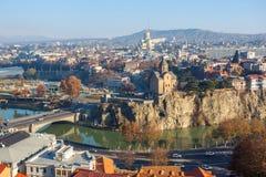 The Panoramic View Of Tbilisi, Sameba, Metekhi,  autumn, Georgia Royalty Free Stock Images
