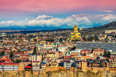 Panoramic view of Tbilisi at sunset Royalty Free Stock Photography