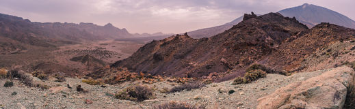 Panoramic view of the teide volcano. A huge Panoramic view of the volcano valley in front of el teide vulcano in tenerife spain Royalty Free Stock Image