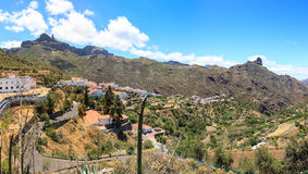 Panoramic view of Tejeda and Roque Nublo, on Gran Canaria, Spain Stock Images