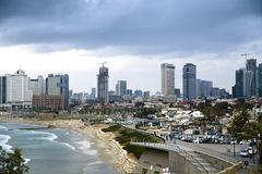 Panoramic view on Tel-Aviv from Yaffo Stock Images