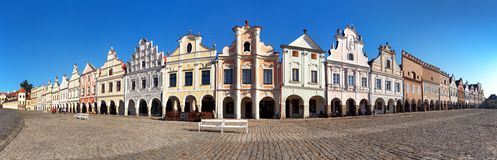 Panoramic view of Telc or Teltsch town square. With renaissance and baroque colorful houses, UNESCO town in Czech Republic Royalty Free Stock Image