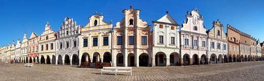 Panoramic view of Telc or Teltsch town square. With renaissance and baroque colorful houses, UNESCO town in Czech Republic Royalty Free Stock Photography