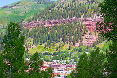 Panoramic view on Telluride and surrounding mountains. Royalty Free Stock Image