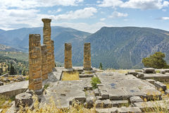 Panoramic view of The Temple of Apollo in Ancient Greek archaeological site of Delphi, Greece Royalty Free Stock Photography