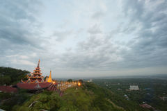 Panoramic view of Temple roof and Stupa ,Sutaungpyai Pagoda,Myanmar. Royalty Free Stock Images