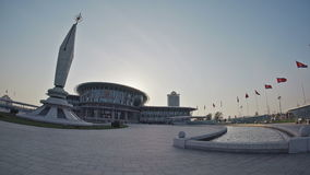 Panoramic view of The Temple of Science and Technology at sunset. May 03, 2017. Pyongyang, DPRK - North Korea. UHD - 4K. Panoramic view of The Temple of Science stock video footage