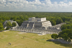 A panoramic view of the Temple of the Warriors out of jungle at Chichen-Itza. A Mayan ruin, in the Yucatan Peninsula, Mexico Stock Photos