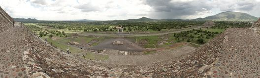 Panoramic view of the Teotihuacan pyramids, a UNESCO World Heritage Site. stock photography