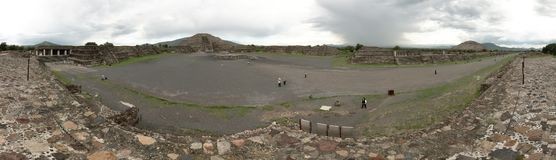 Panoramic view of the Teotihuacan pyramids, a UNESCO World Heritage Site. stock photo