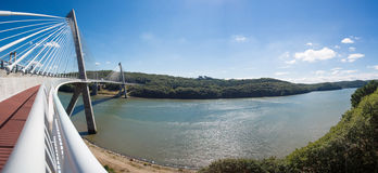 Panoramic view of the Terenez bridge Stock Image
