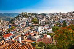 Panoramic view on Texco traditional colonial city in Mexico stock images