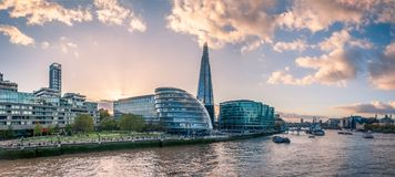 Panoramic View of the Thames River stock photos