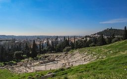 Panoramic view of the theatre of Dionysus, Acropolis mountain of Athens, Greece, Europe royalty free stock images
