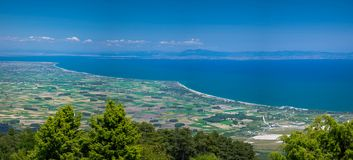 Panoramic view of Thermaikos Gulf of Aegean sea, Greece. Panoramic view of Thermaikos Gulf of Aegean sea and Khalkidiki or Halkidiki peninsula seen from Olympus royalty free stock photography