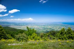 Panoramic view of Thermaikos Gulf of Aegean sea, Greece. Panoramic view of Thermaikos Gulf of Aegean sea and Khalkidiki or Halkidiki peninsula seen from Olympus royalty free stock image
