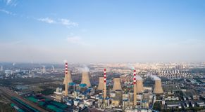 Panoramic view of thermal power plant. Dezhou city ,shandong province,China Stock Photos