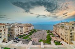 Panoramic view of Thessaloniki city at Aristotelous square. Greece. Panoramic view of Thessaloniki city at Aristotelous square, Greece royalty free stock images