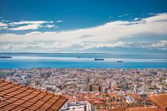 Panoramic View of Thessaloniki city, the sea and the olympous mo Royalty Free Stock Images