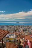Panoramic View of Thessaloniki city, the sea and the olympous mo Stock Photo