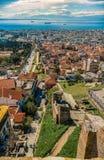 Panoramic view of Thessaloniki city, Trigoniou Tower Royalty Free Stock Photos