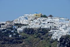panoramic view of the Thira town in Santorini island stock image