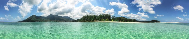 Panoramic view of Thong Nai Pan Yai beach, Paradise, Malibu or Bottle beach in Chaloklum, Koh Phangan, Thailand. Panoramic view Thong Nai Pan Yai beach, Paradise Stock Image