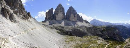 Panoramic view of the three Cime of Lavaredo Stock Photography