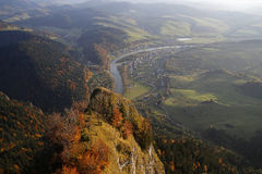 Panoramic view from Three Crowns peak in Pieniny Mountains, Poland Royalty Free Stock Photo