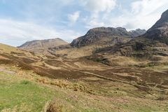 Panoramic view of Three Sisters in Glencoe, Scotland Stock Photos