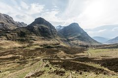 Panoramic view of Three Sisters in Glencoe, Scotland Royalty Free Stock Images