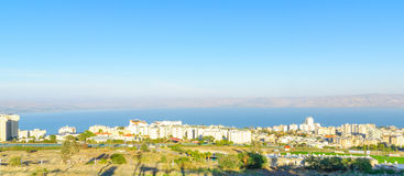 Panoramic view of Tiberias and the Sea of Galilee Royalty Free Stock Image