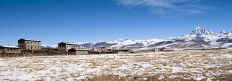 Panoramic view of tibetan village Stock Photos