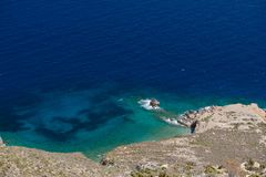 Panoramic view of Tilos island.Tilos island with mountain background, Tilos, Greece.  Tilos is small island located in Aegean Sea, Stock Image