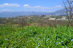 Panoramic view to the Alps of Lecco and the Brianza plain in a sunny spring day. stock photography
