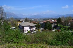 Panoramic view to the Alps of Lecco and the Brianza plain in a sunny spring day. royalty free stock photos