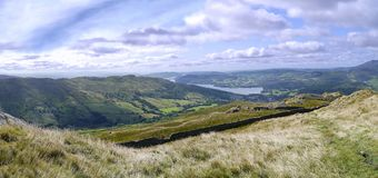 Panoramic view to Ambleside and Wansfell Pike Royalty Free Stock Photos