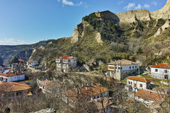 Panoramic view to ancient Melnik town and sand pyramids,  Bulgaria Stock Photography