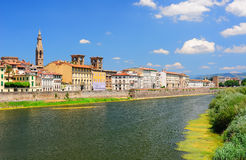 Panoramic view to the Arno river in Florence Royalty Free Stock Photos
