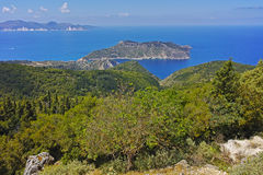 Panoramic view to Assos village, Kefalonia, Greece Stock Photo