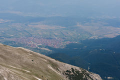Panoramic view to Bansko town from Vihren Peak,  Pirin Mountain Stock Image