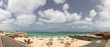 Panoramic view to the beach of island Boa Vista, Cape Verde Stock Photos