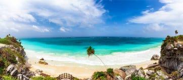 Panoramic view to the beautiful coastline of Tulum in Mexico, Yucatan Peninsula stock photo
